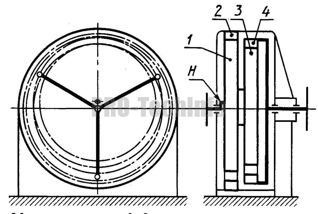 Двухступенчатый планетарный редуктор с кривошипом