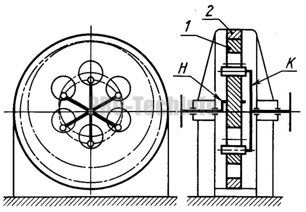 Одноступенчатый планетарный редуктор с кривошипом