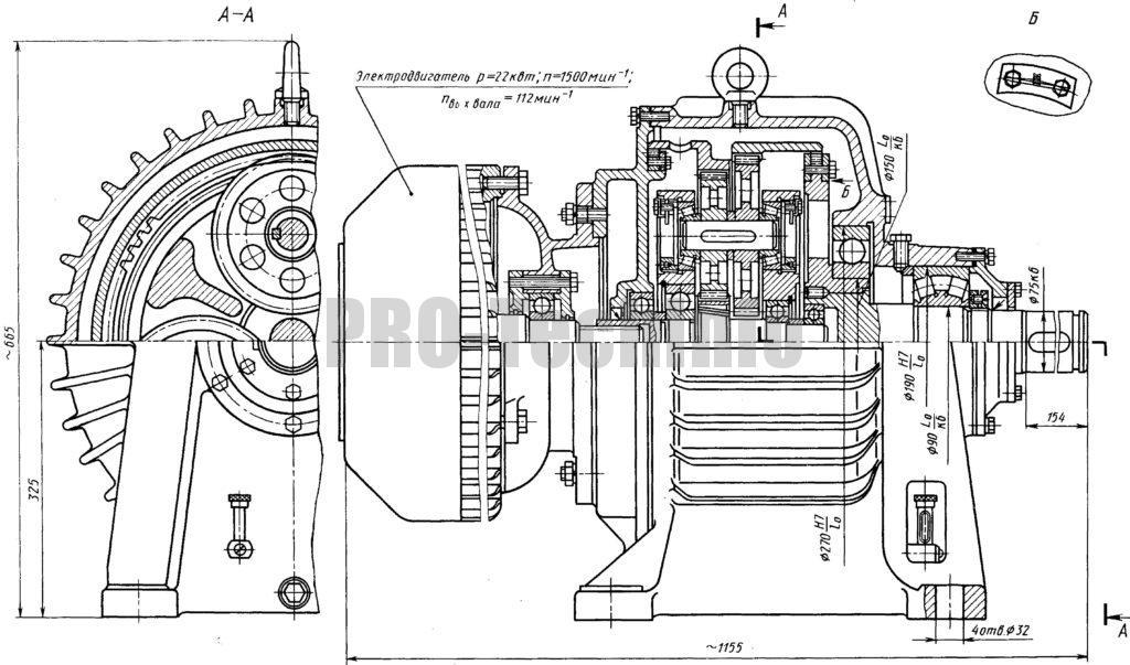 Мотор-редуктор ГП-М-V планетарно-зубчатый горизонтальный чертеж скачать