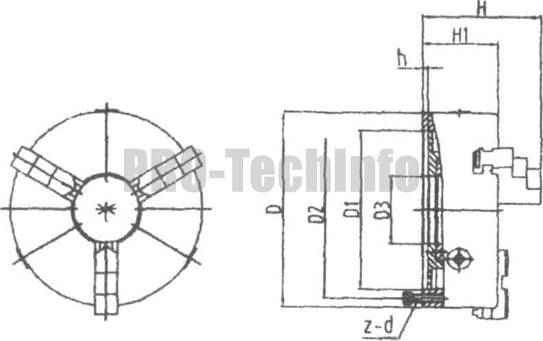 Общий вид и основные размеры трехкулачкового токарного патрона