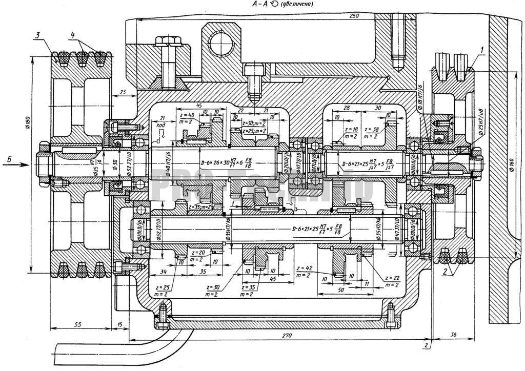Коробка передач токарного станка 1Э610 чертеж разрез по валам