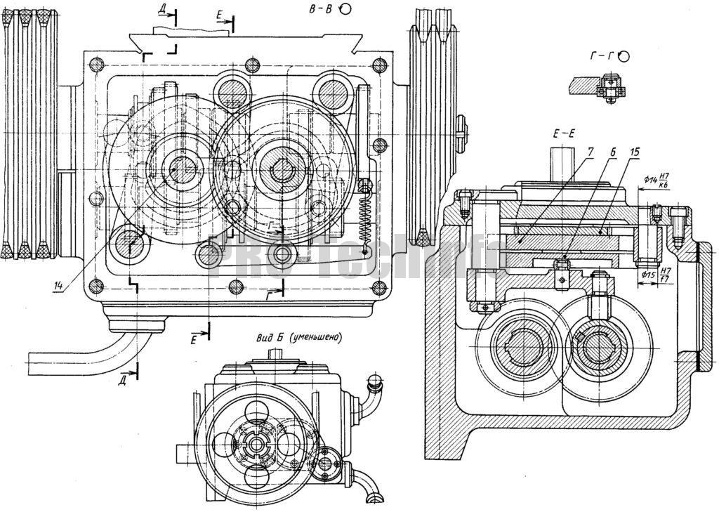 Коробка передач токарного станка 1Э610 чертеж вид сбоку