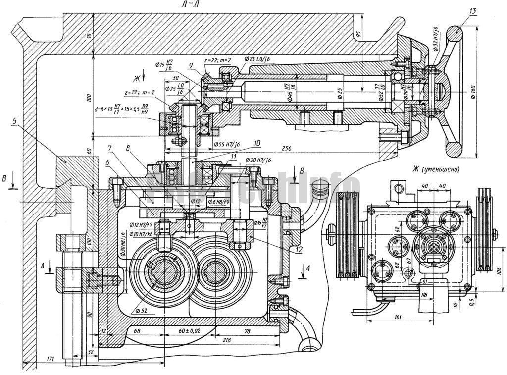 Коробка передач токарного станка 1Э610 чертеж поперечный разрез
