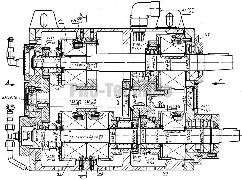 Коробка передач с электромагнитными муфтами чертеж разрез по валам