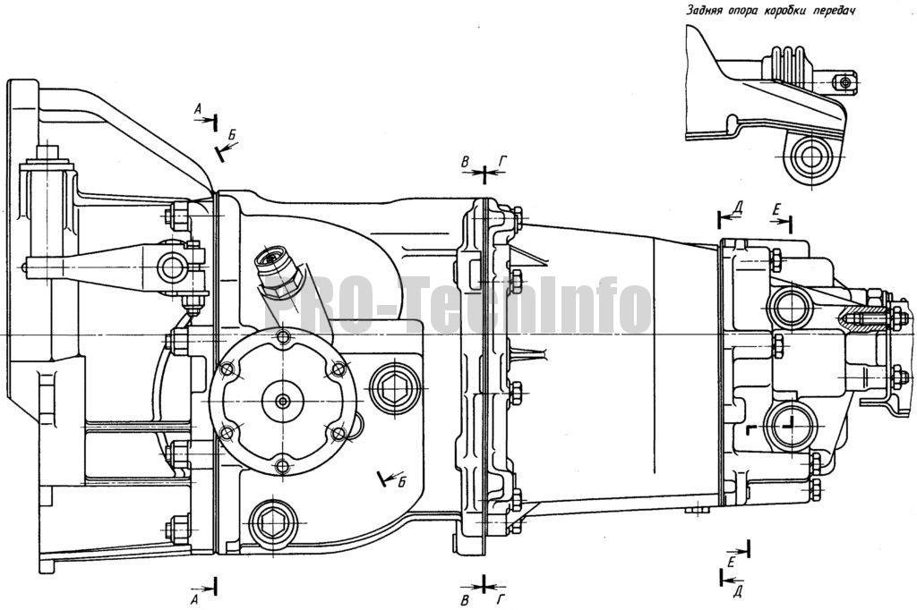 Коробка передач с дифференциалом автомобиля Москвич-2141 вид спереди
