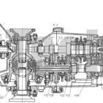 Коробка передач с дифференциалом автомобиля Москвич-2141 разрез по валам