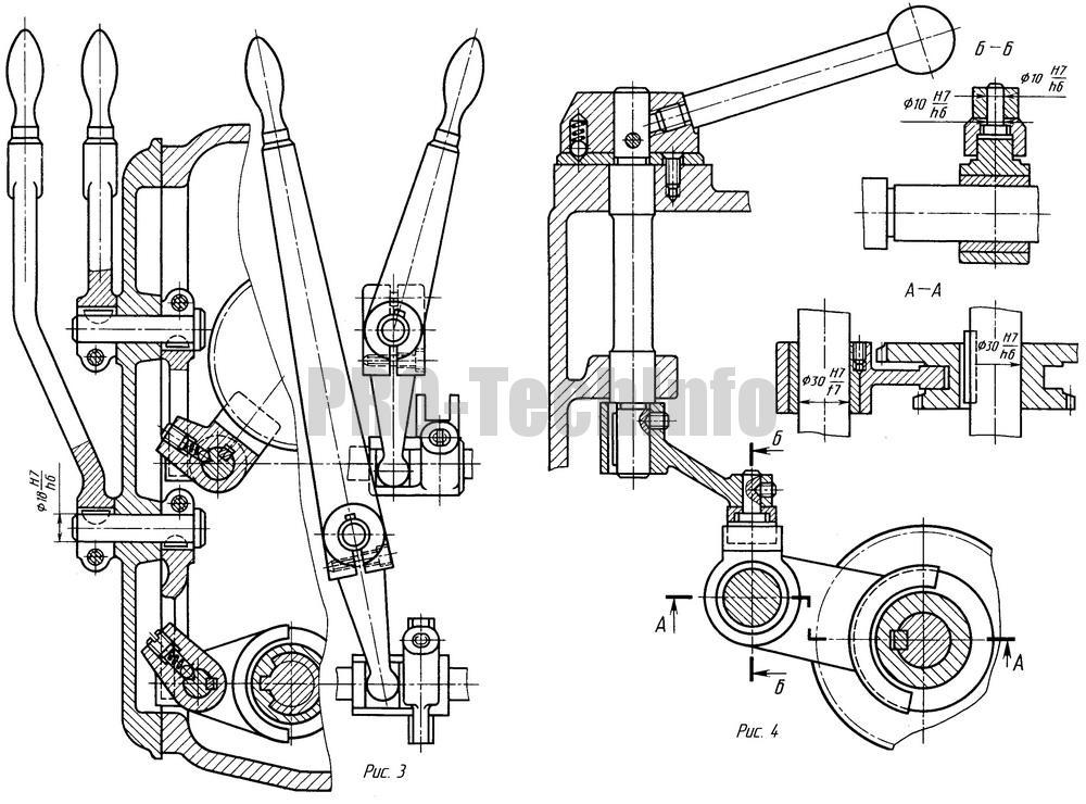 Рычажные механизмы передвижения зубчатых колес чертеж