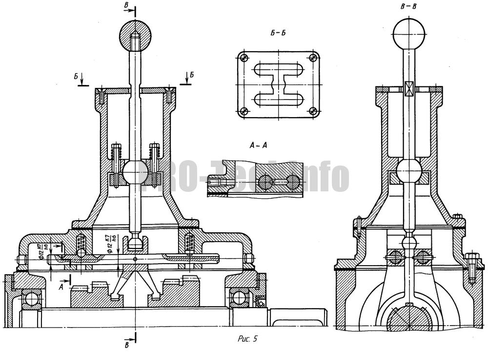 Механизм передвижения зубчатых колес с переводным рычагом