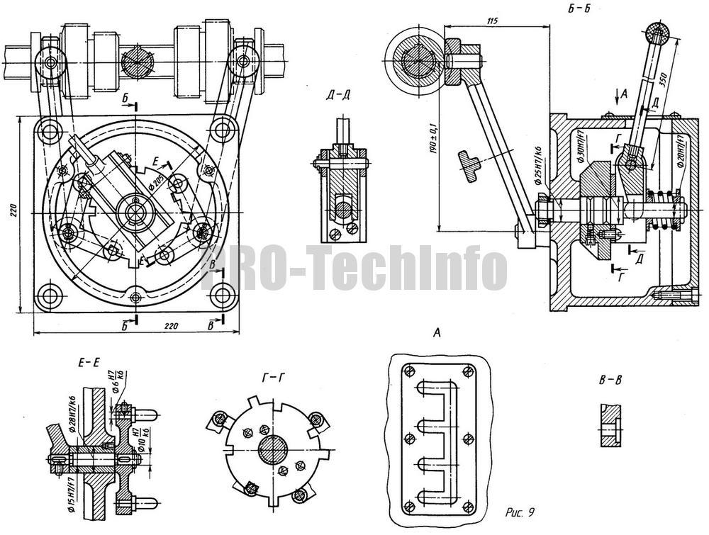 Механизм передвижения зубчатых колес с радиальным кулачком