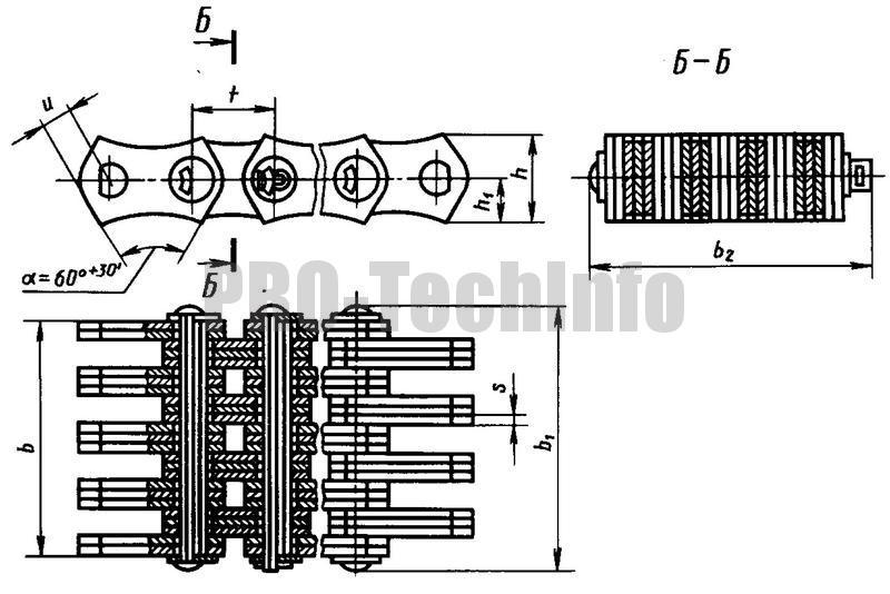 Приводная зубчатая цепь типа 2 двухстороннего зацепления