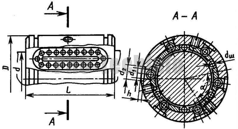 Направляющие качения с шариковой втулкой обычного исполнения чертеж