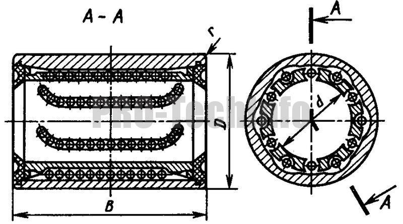 Направляющие качения с шариковой втулкой серии6-5108Л чертеж