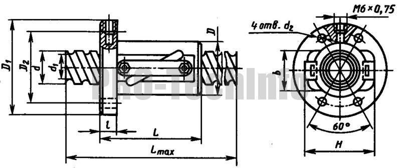 Шариковая передача винт - гайка с большим шагом чертеж