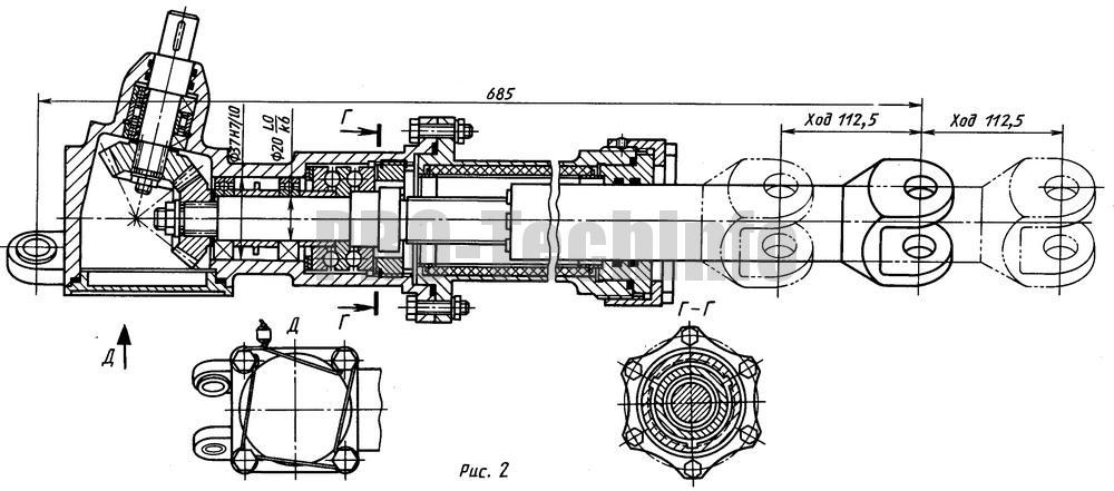 Конструкция привода толкателя с использованием шарико-винтовой передачи