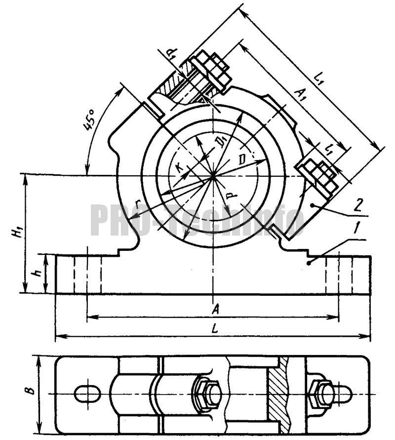Корпуса наклонные разъемные с двумя крепежными отверстиями (по ГОСТ 11609-82)