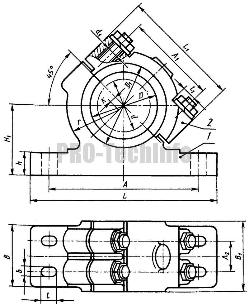 Корпуса наклонные разъемные с четырмя крепежными отверстиями (по ГОСТ 11610-82)