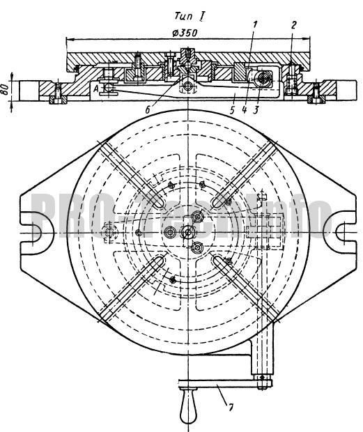 Стол с одновременным фиксированием и креплением поворотной части тип 1